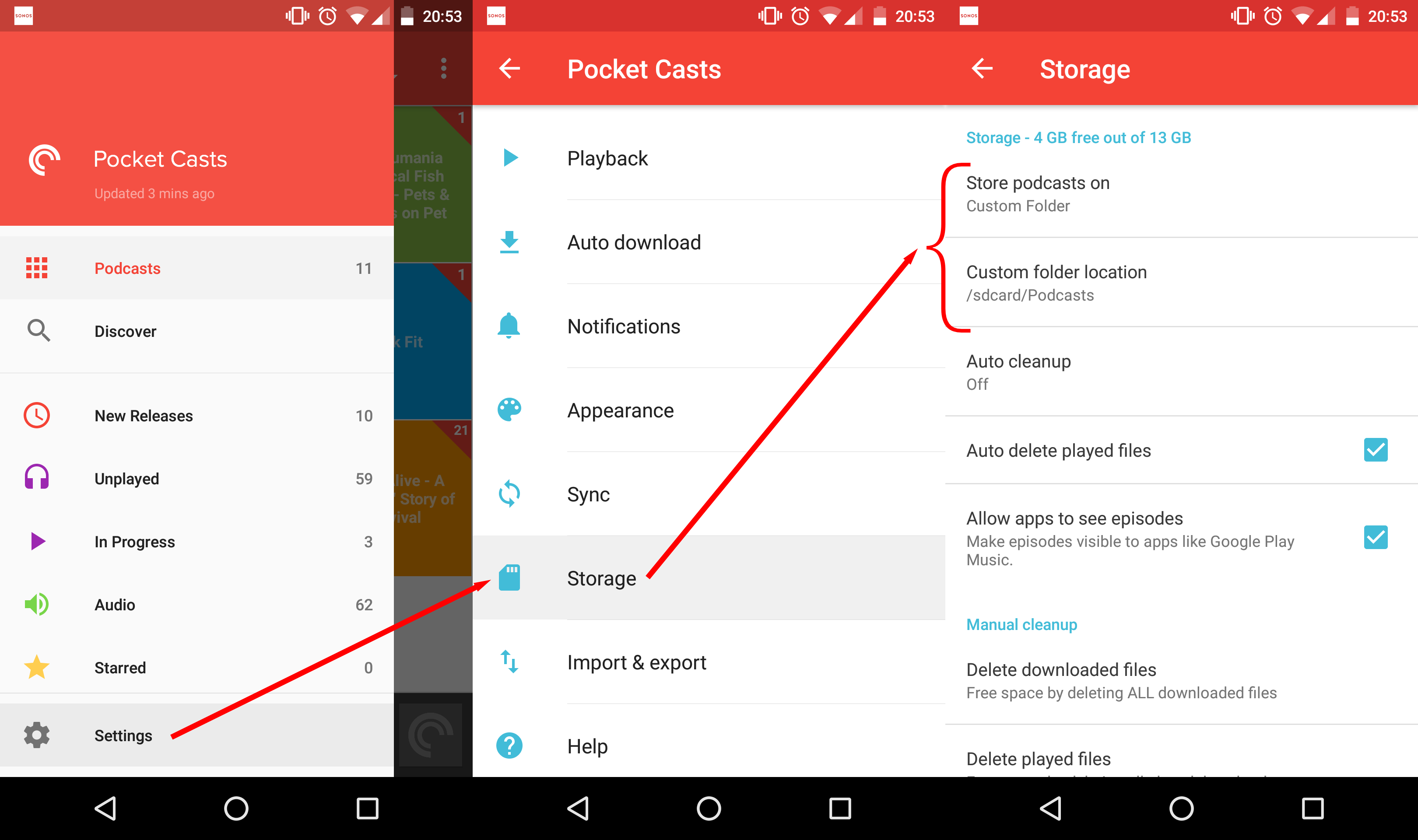 Pocket Casts settings for Sonos Podcasts